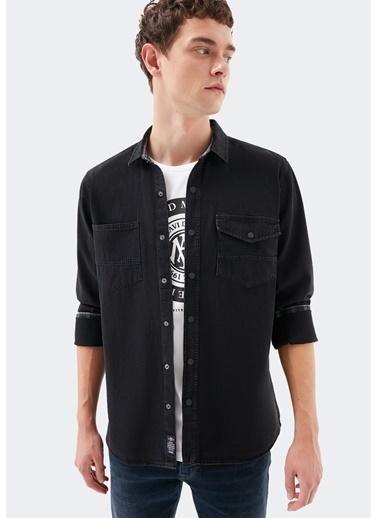 Mavi  Denim Gömlek Siyah